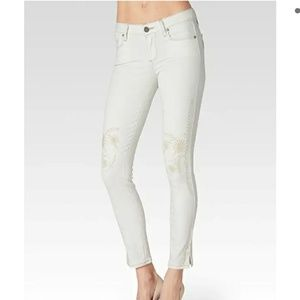 PAIGE ivory fleur embroidery ankle skinny jeans